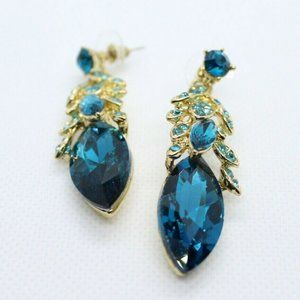 Jewelry - Gold Blue Feather Crystal Drop Dangle Stud Earring